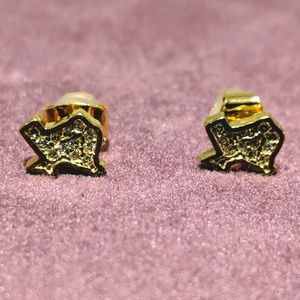 Texas shaped cubic zirconia gold earrings